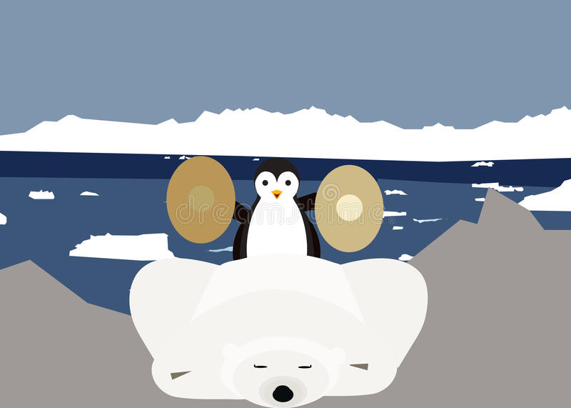 Wake Up. Antarctica Penguin decided one day to make Wake Up the polar bear. With cymbals is from him royalty free illustration