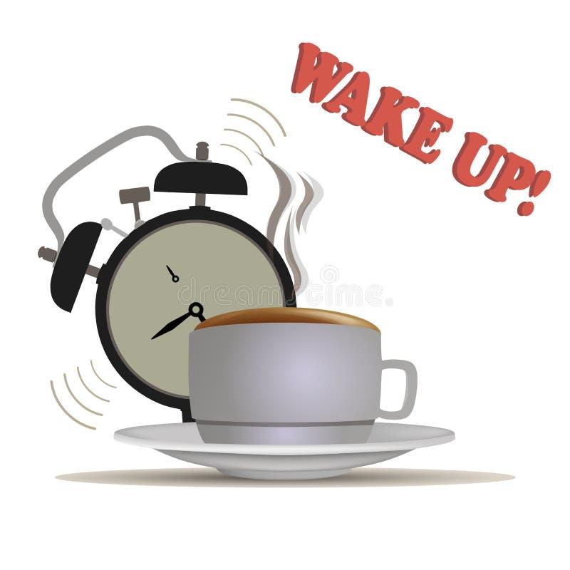 Wake up coffee vector waking morning clock illustration alarm sleep bed early bedroom. vector illustration