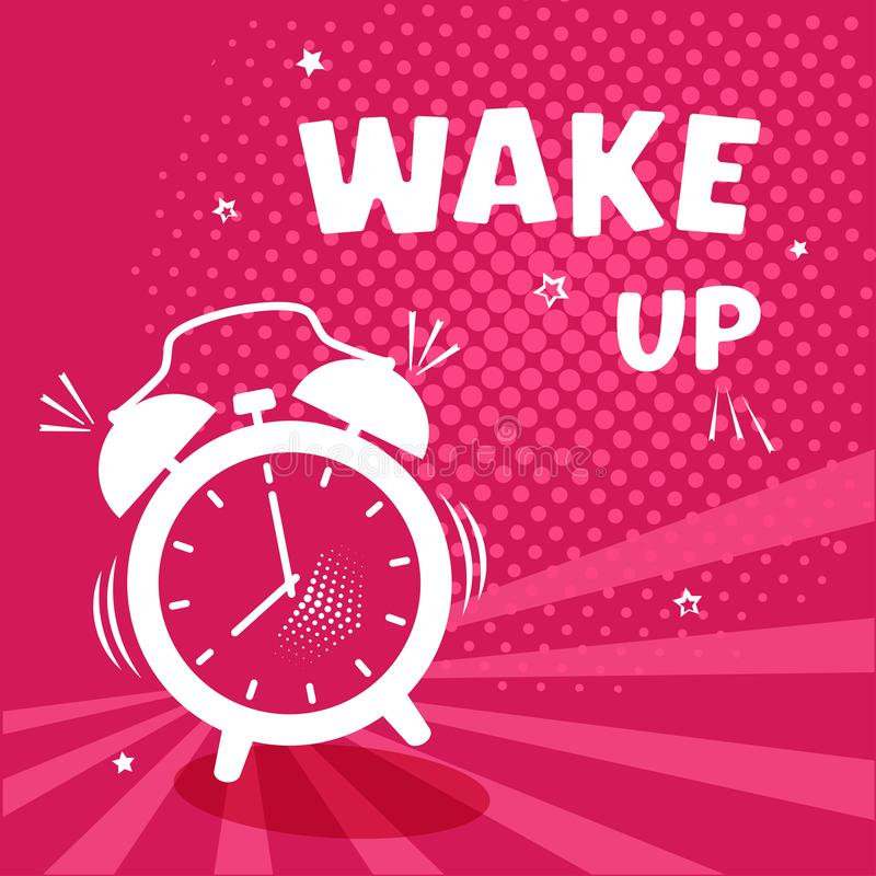 Wake up. Comic alarm clock on pinr background with halftone and stars in pop art style. Vector illustration vector illustration