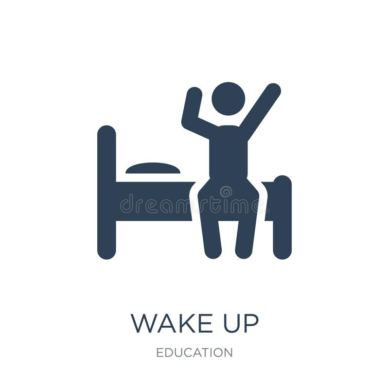 Wake up icon in trendy design style. wake up icon isolated on white background. wake up vector icon simple and modern flat symbol. For web site, mobile, logo stock illustration