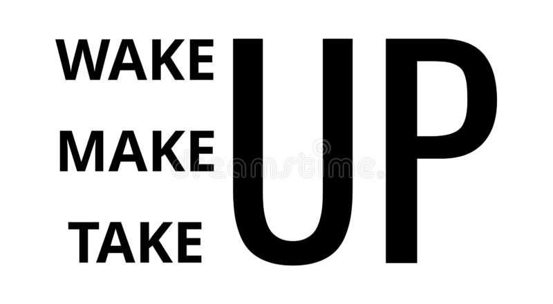 Wake up para compor acima a tomada Cita??es inspiradas fotografia de stock
