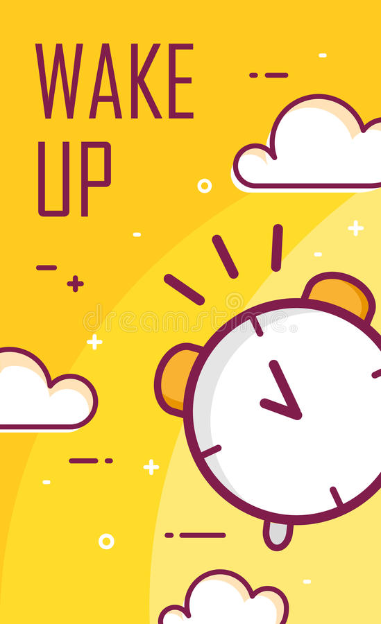 Wake up poster with alarm clock. Thin line flat design. Vector good morning background stock illustration