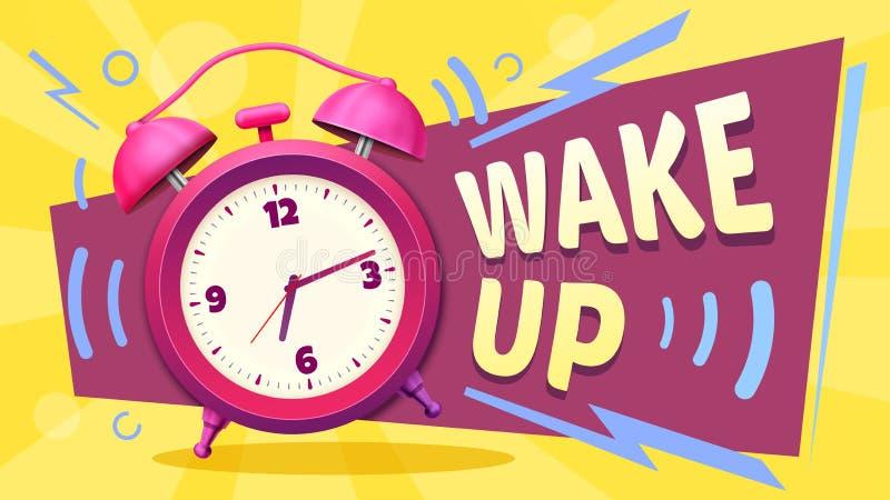 Wake up poster. Good morning, alarm clock ringing and mornings wakes vector illustration stock illustration