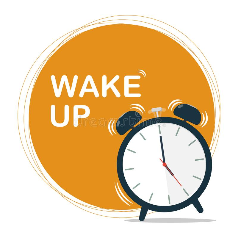 Wake up sun circle vector. Wake up sun circle , alarm clock, vector royalty free illustration