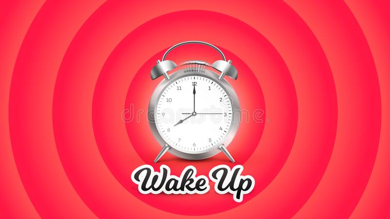 Wake Up. Vector Perfect Conceptual Illustration With Ringing Alarm Clock On Red Background vector illustration