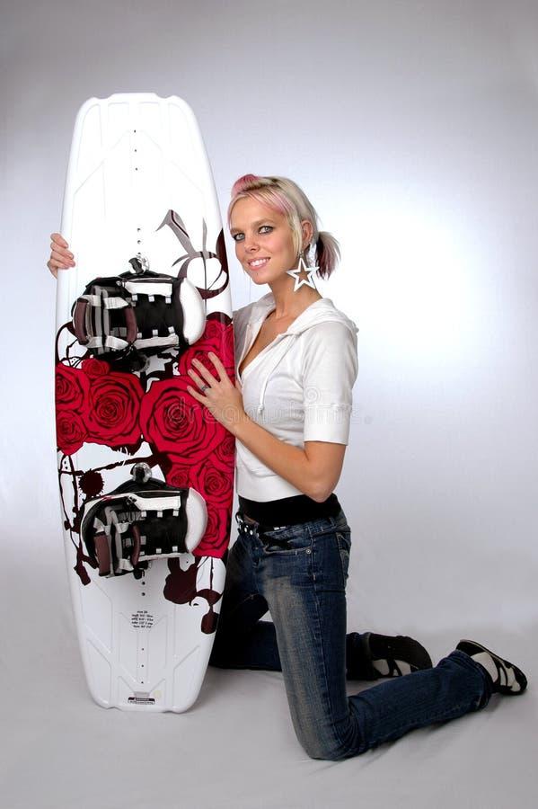 wakeboard девушки стоковая фотография