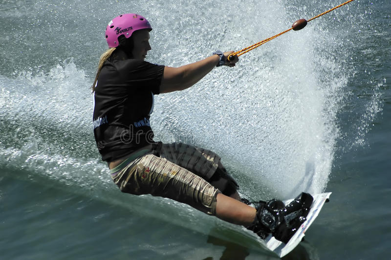 Wakeboarder in action stock image