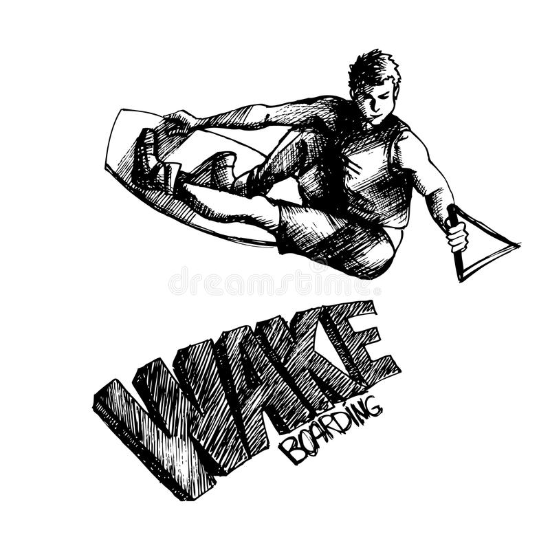 Wakeboarder 1. Hand drown wakeboarder on isolated background vector illustration