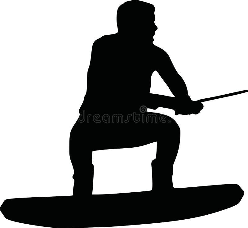 Wakeboarder med hastighet vektor illustrationer