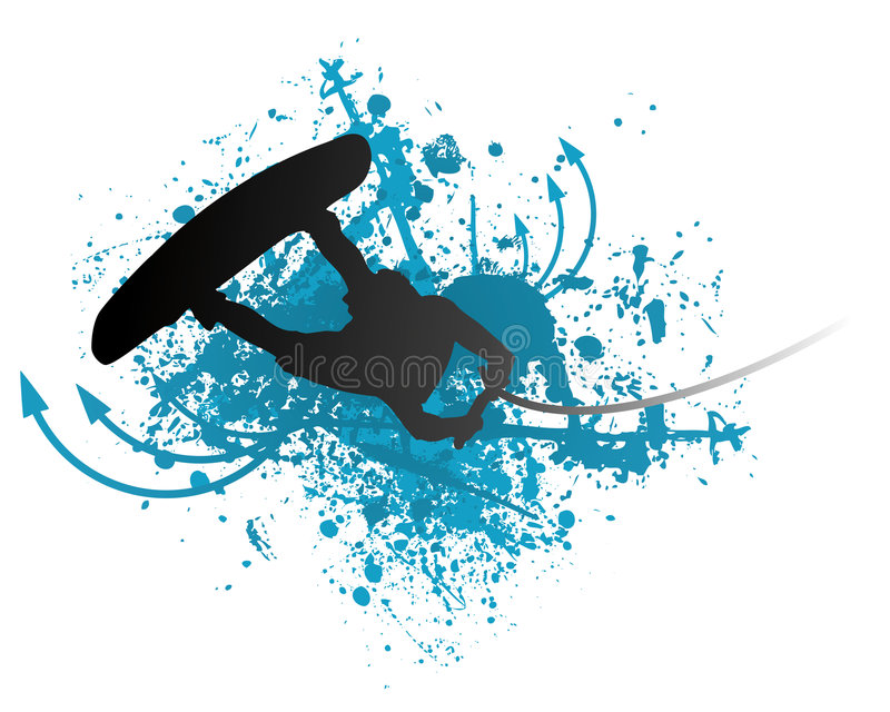 Wakeboarder na ação ilustração do vetor
