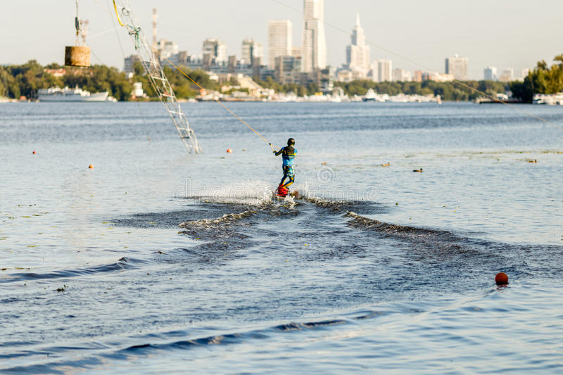 Wakeboarder ride set in wake park. stock photos