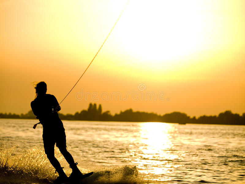 Wakeboarding girl stock images