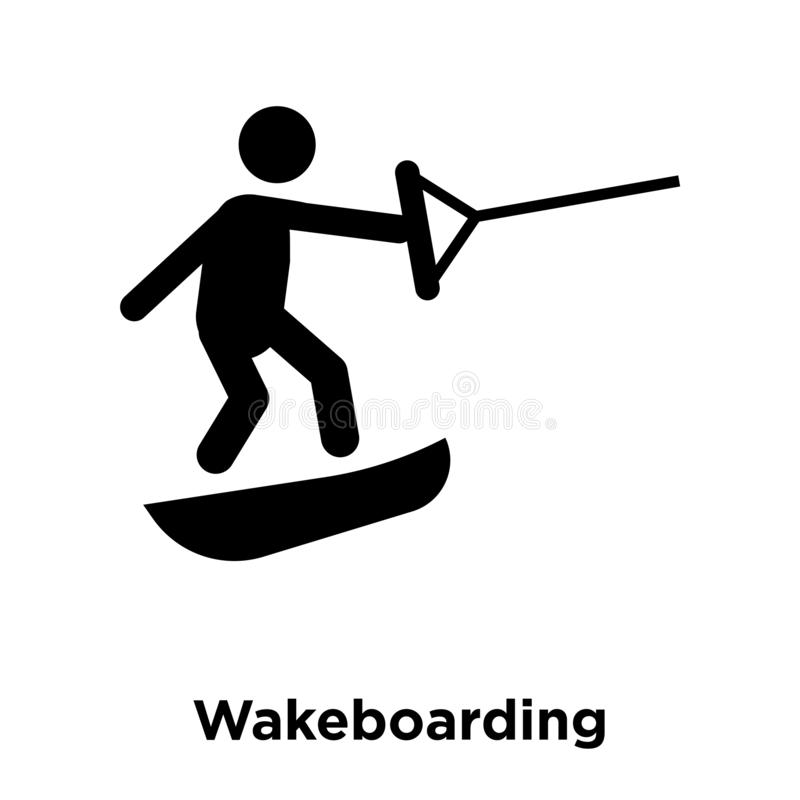 Wakeboarding icon vector isolated on white background, logo concept of Wakeboarding sign on transparent background, black filled. Wakeboarding icon vector royalty free illustration