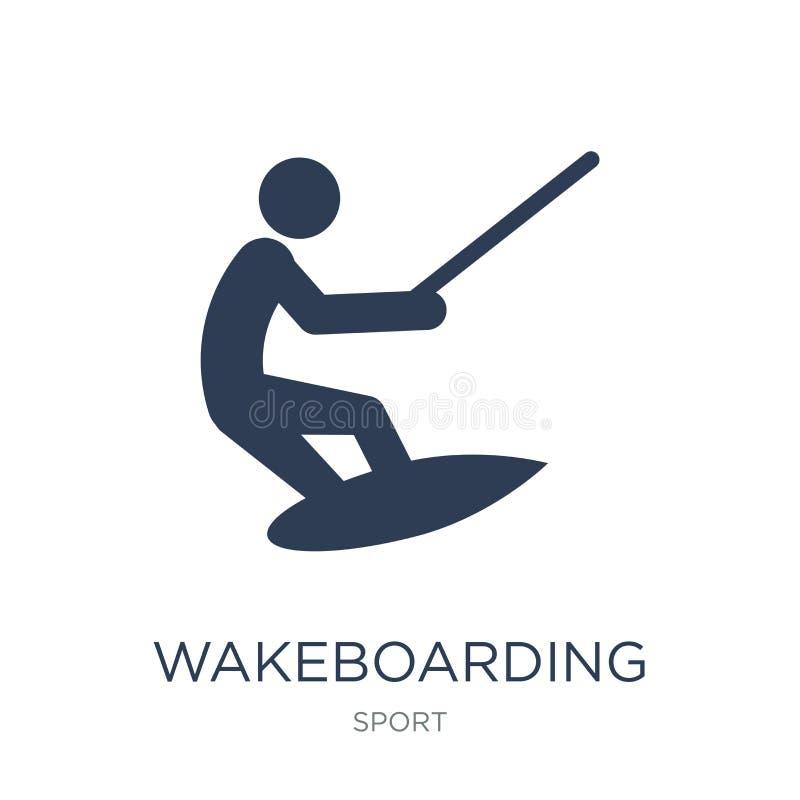 Wakeboarding-Ikone Wakeboarding Ikone des modischen flachen Vektors auf Weiß vektor abbildung