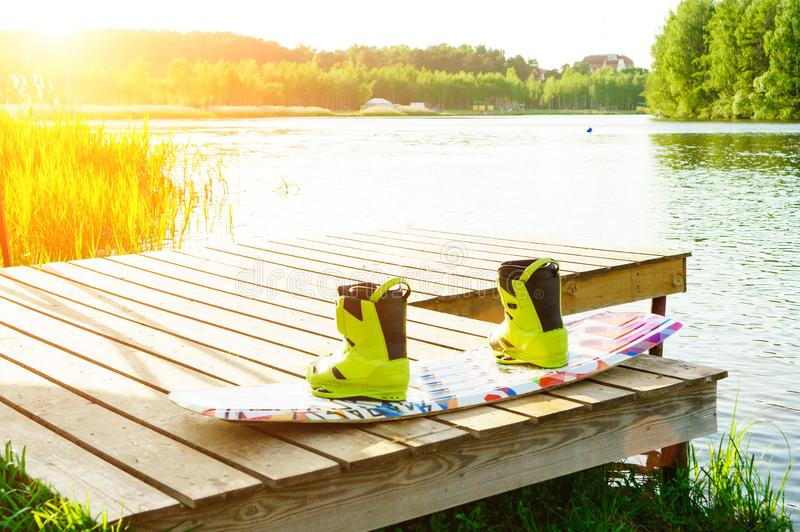 wakeboarding laarzen en raad royalty-vrije stock fotografie