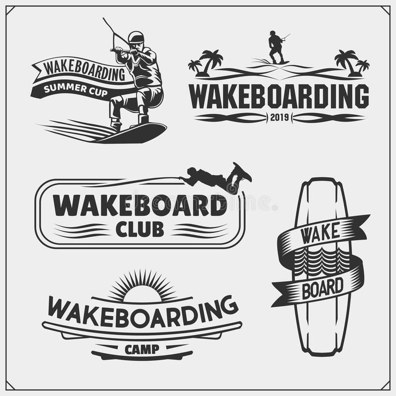 Wakeboarding silhouettes, labels and design elements. Set of emblems for wakeboard club and print design for t-shirt. vector illustration