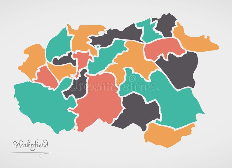 Wakefield Map with wards and modern round shapes. Illustration vector illustration