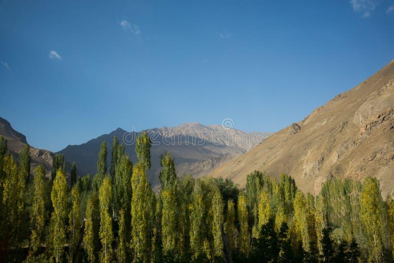 Wakhan dolina, Tajikistan: Rabatowa rzeczna Panj rzeka w Wakhan dolinie z Tajikistan i Afganistan Wycieczka samochodowa na Pamir  fotografia stock