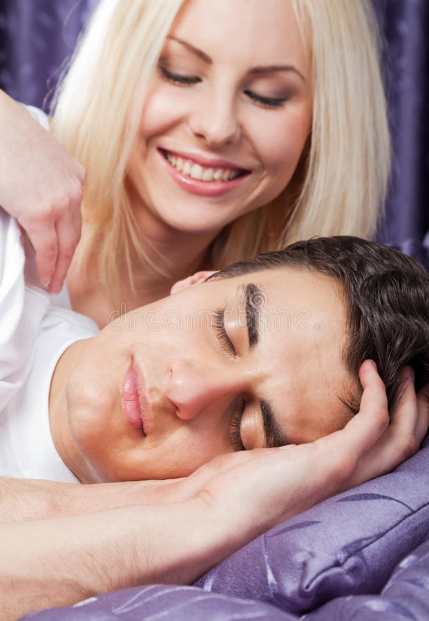 Download Waking up stock image. Image of caring, male, woman, tender - 14501401
