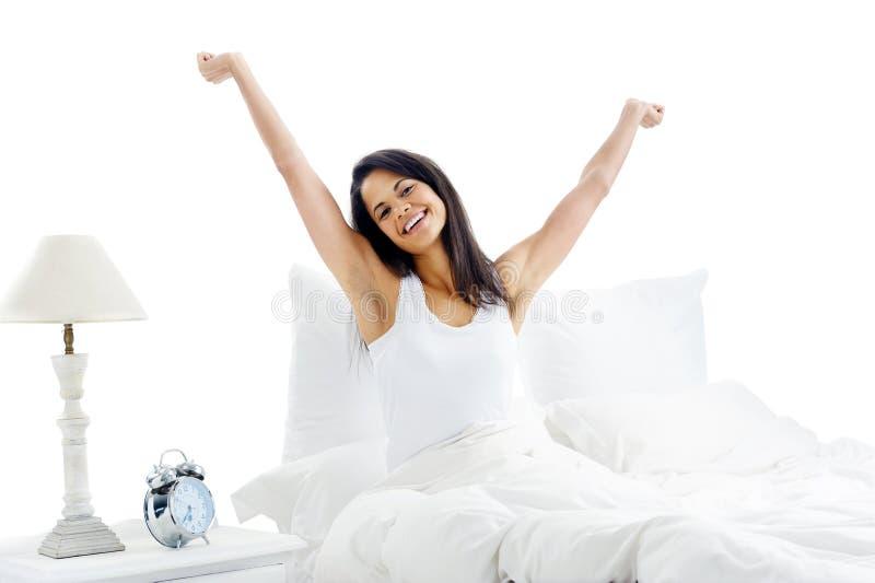 Waking up woman stock photo