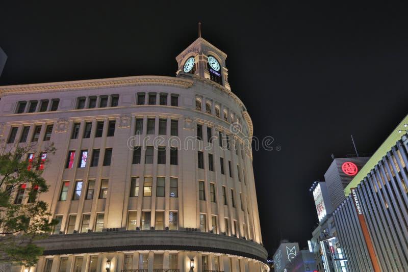 wako rozdroże przy nocą w Ginza Tokio obraz royalty free