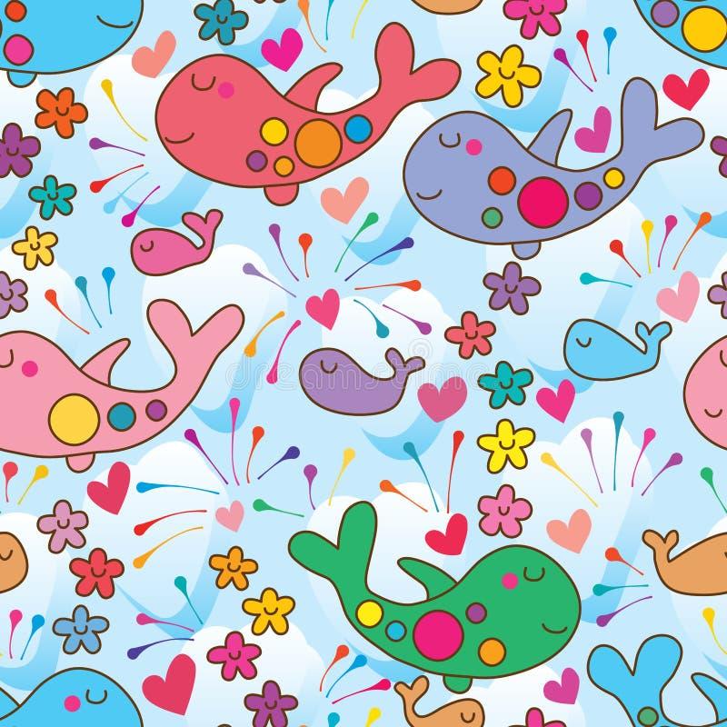 Wal wie nahtloses Muster des Flugzeugblumen-Lächelns lizenzfreie abbildung