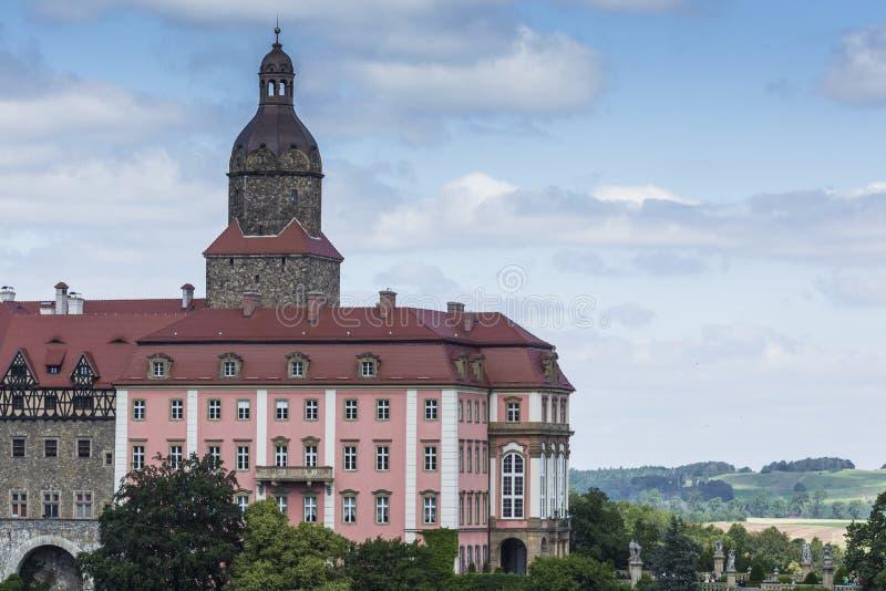 WALBRZYCH,波兰- 2016年7月07日:城堡Ksiaz在Walbrzych,  库存照片
