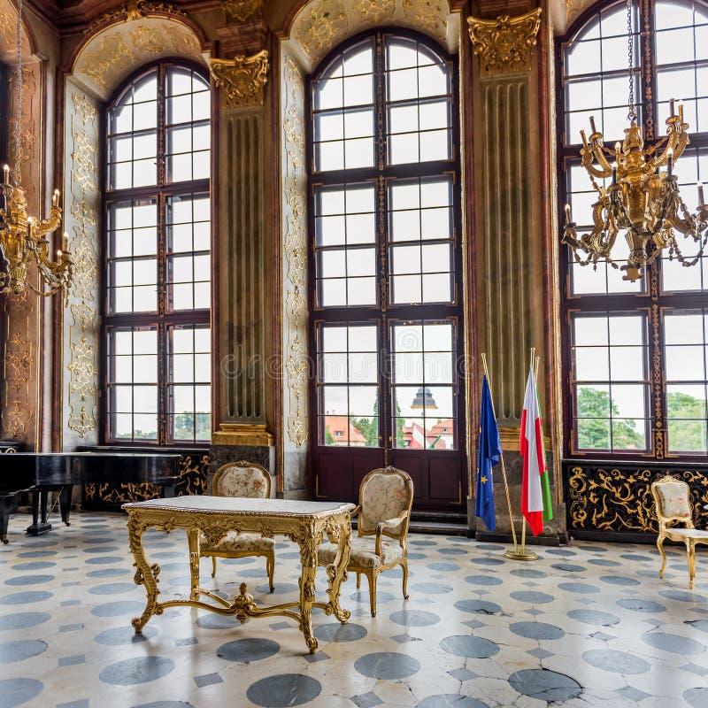 Walbrzych. Pologne - 8 septembre 2019 : Intérieur du château de Ksiaz images libres de droits