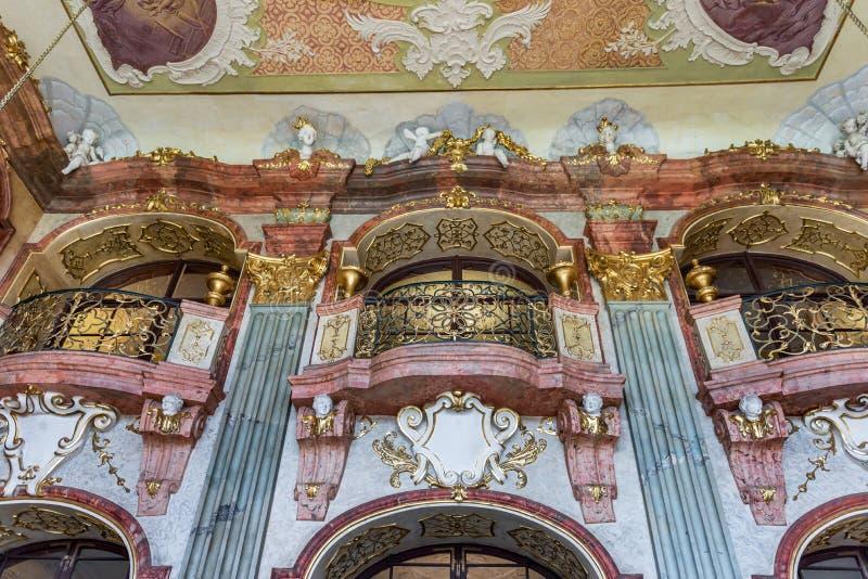 Walbrzych Pologne - 8 septembre 2019 : Intérieur du château de Ksiaz images libres de droits