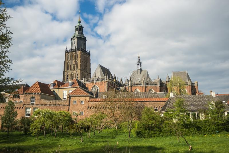 Citywall and Walburgiskerk in Zutphen, Netherlands royalty free stock photo