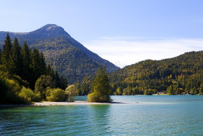 Walchensee em alpes bávaros, Alemanha imagem de stock royalty free