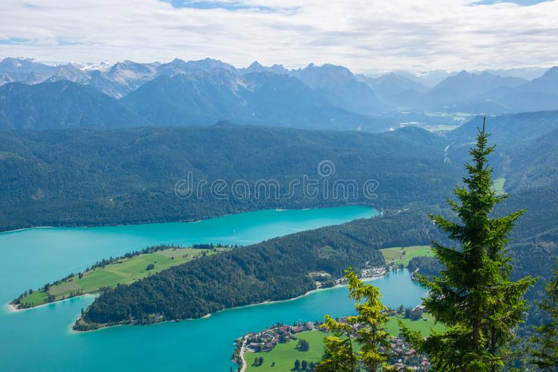 Walchensee view The Alps background in Germany land in the region of Garmisch-Partenkirchen emerald water royalty free stock photography