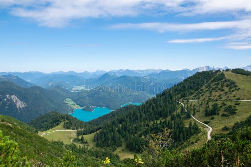 Walchensee view The Alps background in Germany land in the region of Garmisch-Partenkirchen emerald water stock photo