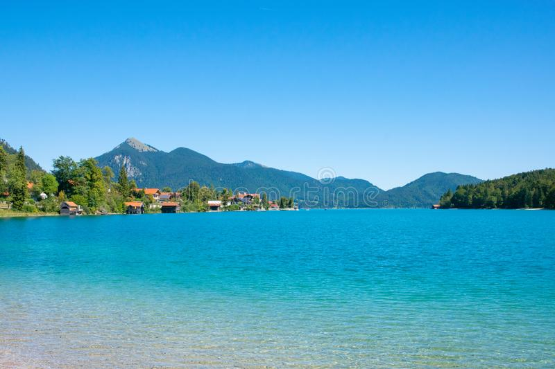 Walchensee view The Alps background in Germany land in the region of Garmisch-Partenkirchen emerald water royalty free stock image