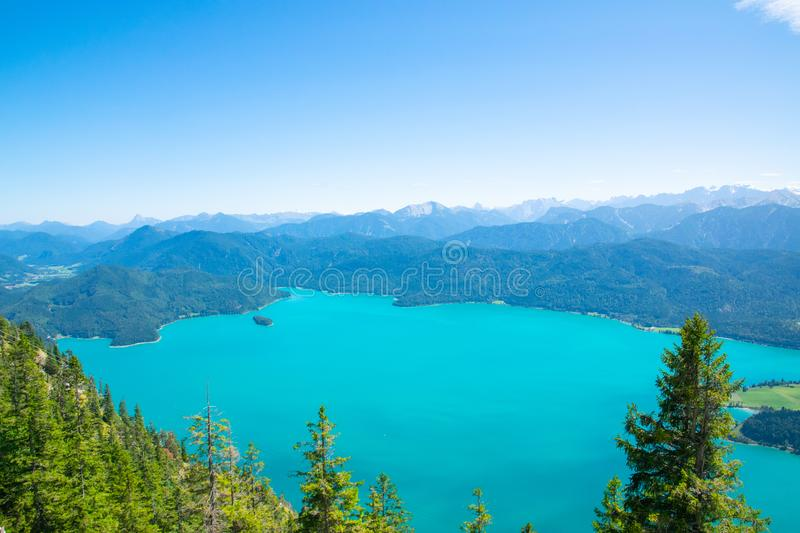 Walchensee view The Alps background in Germany land in the region of Garmisch-Partenkirchen emerald water royalty free stock images