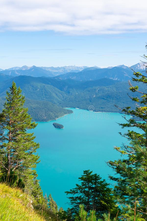 Walchensee view The Alps background in Germany land in the region of Garmisch-Partenkirchen emerald water royalty free stock photo