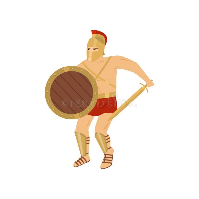 Walczący silny gladiator w czerwonym loincloth odizolowywającym na białym tle royalty ilustracja