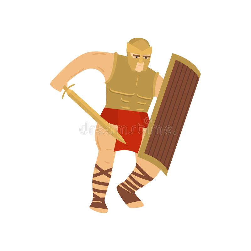 Walczący silny legionista w stalowym opancerzeniu odizolowywającym na białym tle ilustracja wektor