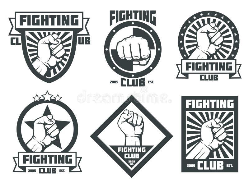 Walczącego klubu mma lucha libre rocznika wektorowi emblematy przylepiają etykietkę odznaka logów royalty ilustracja