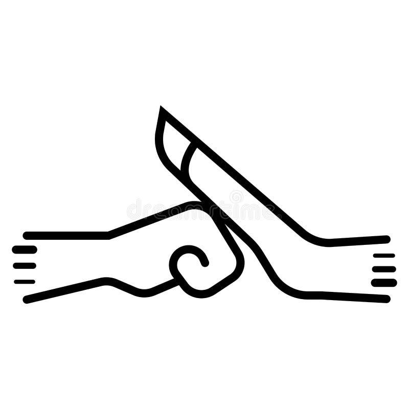 Walczący gest z dwa cienkimi kreskowymi pięściami royalty ilustracja