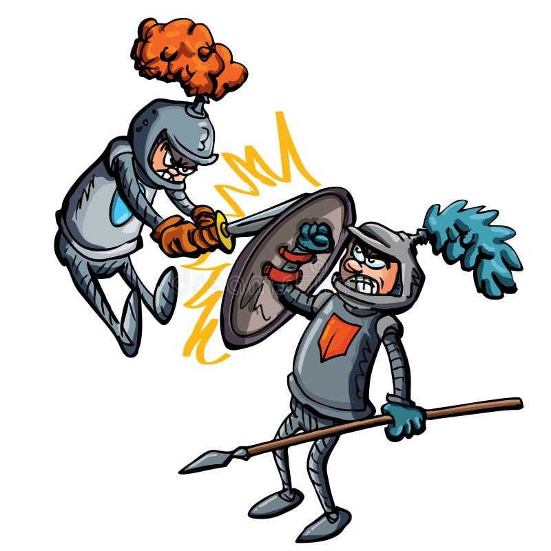 walczący kreskówka rycerze dwa ilustracja wektor