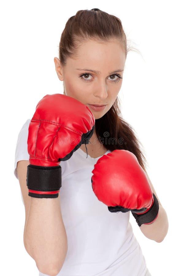 walczący rękawiczek kobiety potomstwa fotografia stock