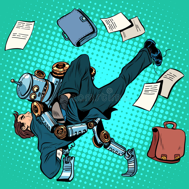 Walczący robot i istota ludzka, sztuczna inteligencja royalty ilustracja
