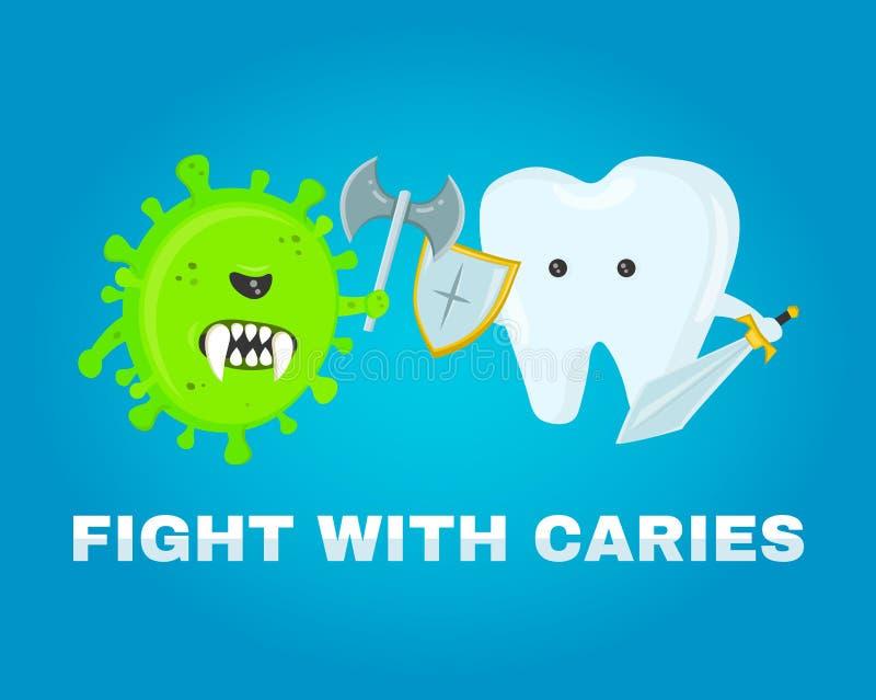 Walczący ząb z próchnicami koncepcja zdrowe zęby choroby bitwa atakujący zarazkami próchnicy royalty ilustracja