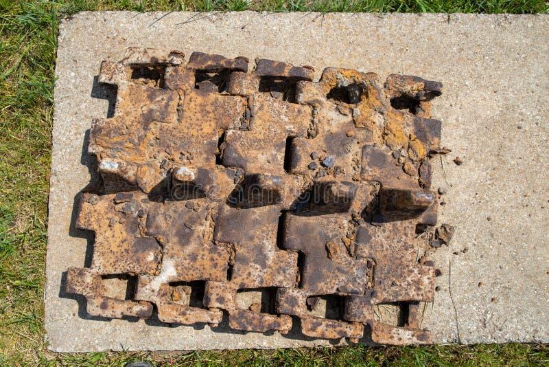 Walcz zachodniopomorskie/Polen - Maj, 24, 2019: Gamla tyska bef?stningar i Pomerania Frilufts- Wareg gruppBrickyard - royaltyfri fotografi