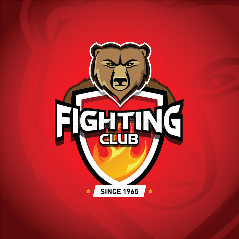 Walczy świetlicowe MMA UFC Mieszać sztuki samoobrony walczy loga szablon Walczący świetlicowy logotyp Walczący osłona emblemat i  ilustracja wektor