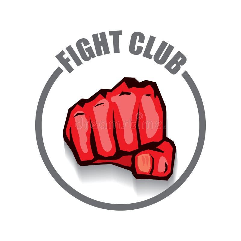 Walczy świetlicowego wektorowego loga z czerwonego mężczyzna pięścią odizolowywającą na białym tle MMA Mieszający sztuka samoobro ilustracji