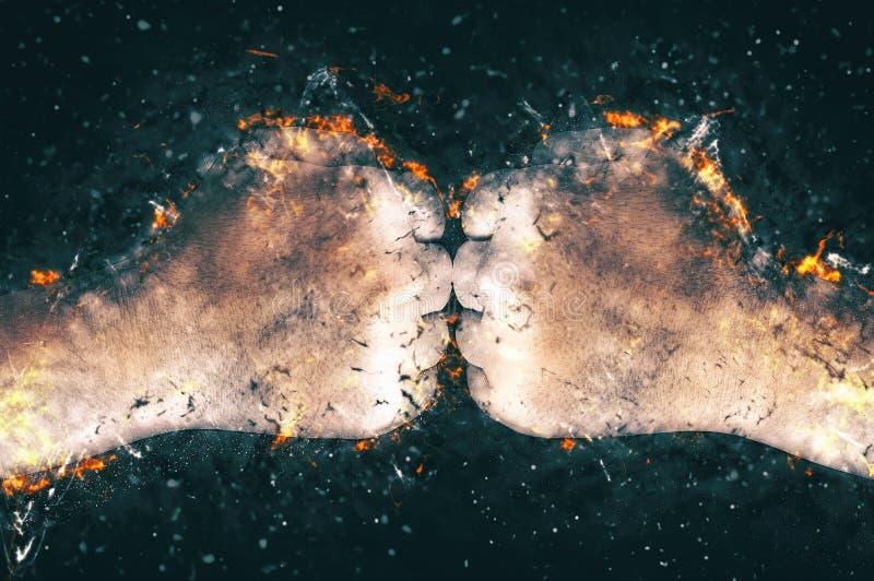 Walczy, dwa pięści uderza each inny, pożarnicza ilustracja zdjęcie royalty free