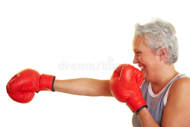 walczy jak uczący się seniora kobieta zdjęcie stock