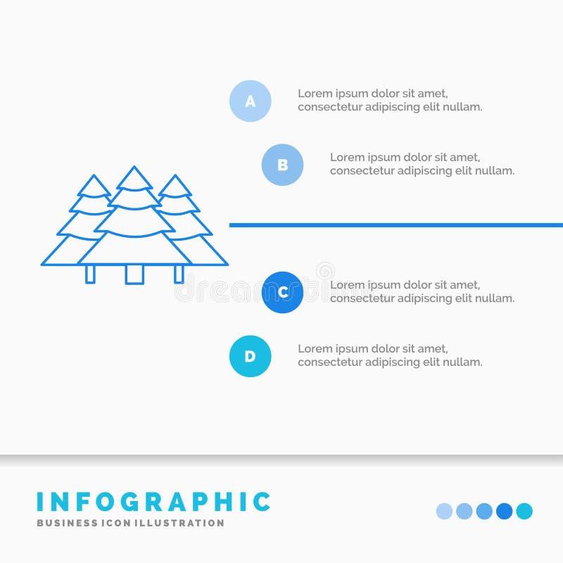 Wald, Kampieren, Dschungel, Baum, Kiefern Infographics-Schablone f?r Website und Darstellung Linie infographic Artvektor der blau vektor abbildung